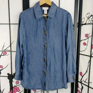 Soft Surroundings Chambray Denim Buckle Shirt